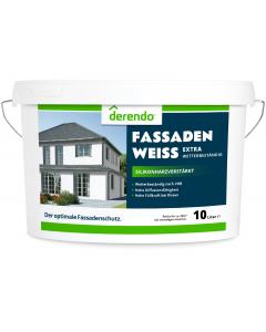 Derendo silikonharzverstärkte Fassadenfarbe weiß mit EXTRA Wetterschutz - 10 Liter