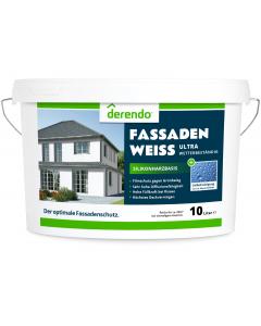 Derendo Silikonharz Fassadenfarbe weiß mit ULTRA Wetterschutz durch Abperleffekt des Lotusblattes - 10 Liter