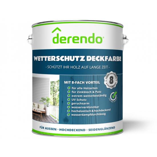2,5 L Derendo Wetterschutz Holzfarbe weiss, seidenglänzend, für Außen